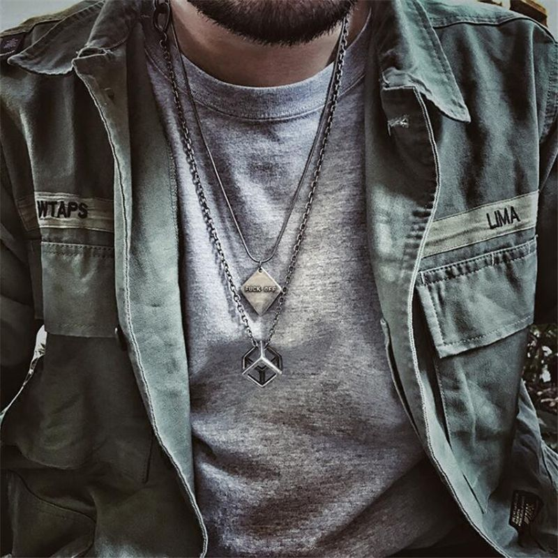 2017 Vintage Silver Stainless Steel Long Chain Pendant Necklace For Men Hiphop Hollw Out Square Black Choker Necklaces Women Men