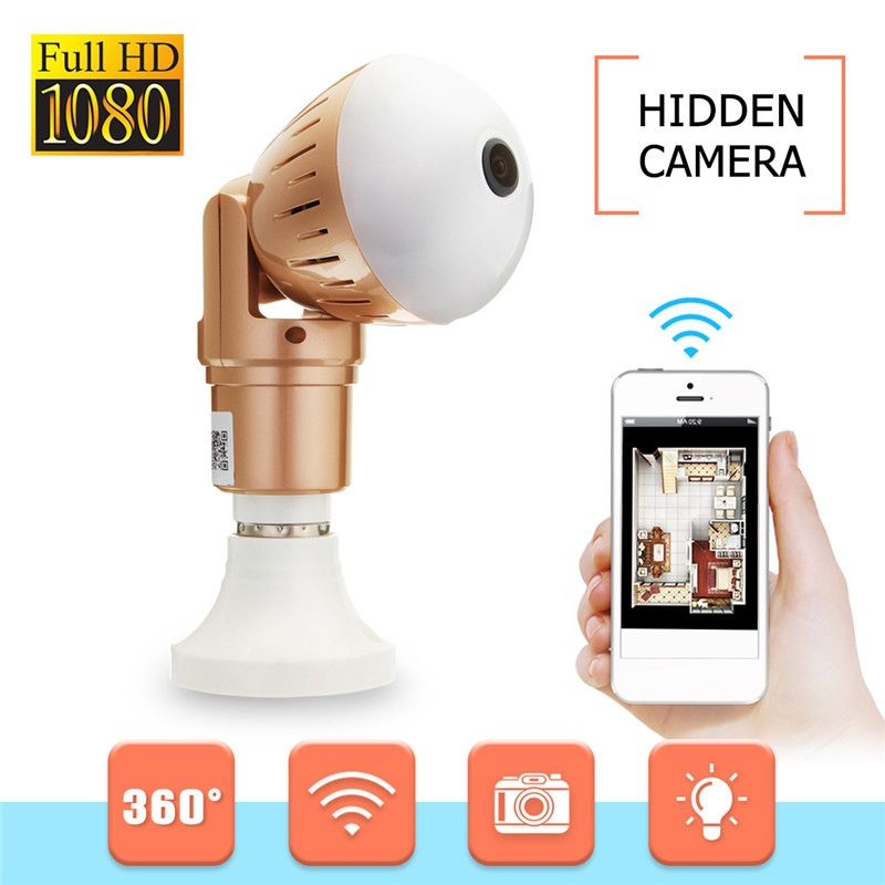Safurance 360 Degree Panoramic 1080P Wifi Camera Wireless LED Light Bulb Camera FishEye CCTV Home Security Bulb Night Vision
