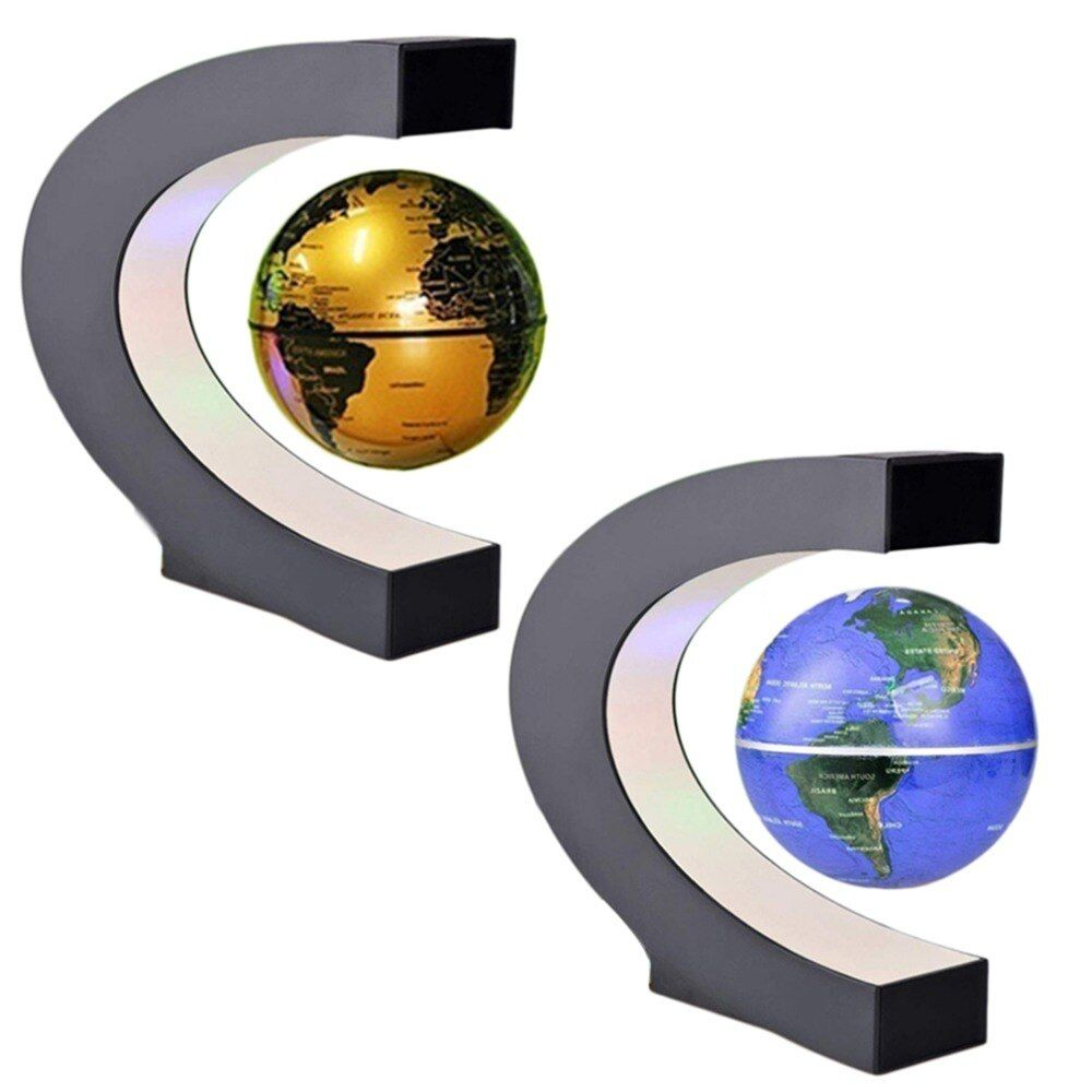 Fashion Electronic Floating Tellurion C Shape Magnetic Levitation Floating Globe World Map With LED Light Home Decoration Gifts