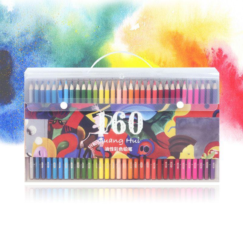 120/160/72/48 couleurs bois crayons de couleur à l'huile ensemble 160 PU porte-crayon (haute qualité) pour dessin croquis école cadeaux Art Supplie