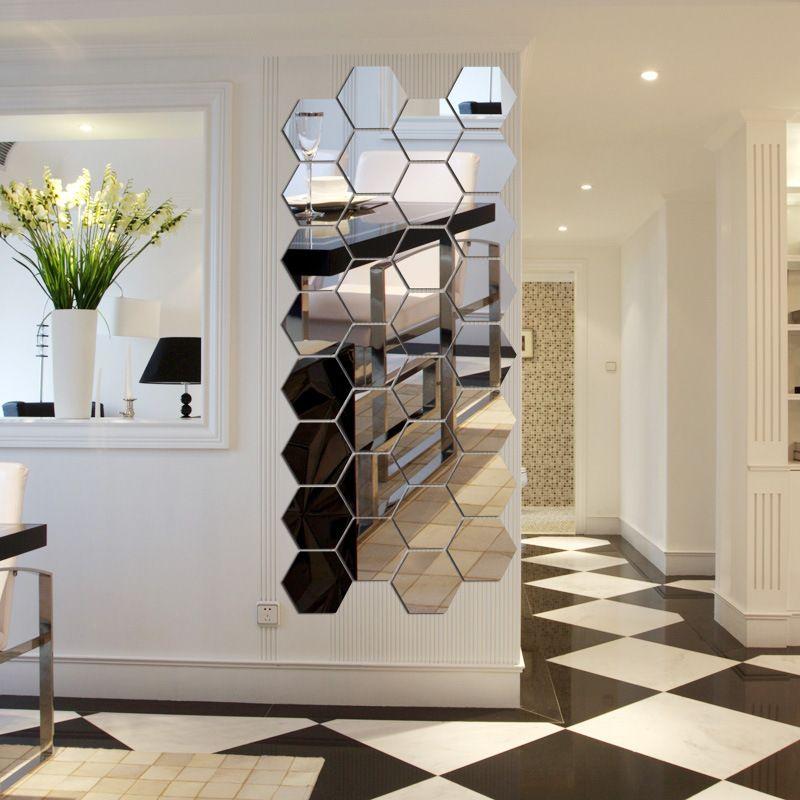 7 pièce hexagone acrylique miroir Stickers muraux bricolage Art mur décor Stickers muraux décor à la maison salon miroir décoratif autocollant