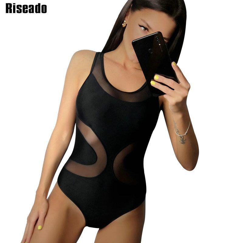 Riseado nouveau maillot de bain une pièce en maille Sexy maillot de bain pour femme femmes maillots de bain solides 2019 Bandage croisé maillot de bain vêtements de plage