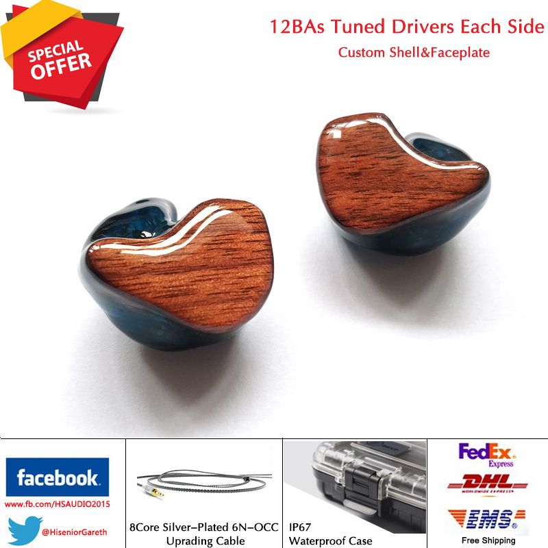 T12 12/24 Units Tuned Balanced Armature BA Drivers Custom Fit CIEM In-ear Monitors Noise Isolating 2Years Official Warranty
