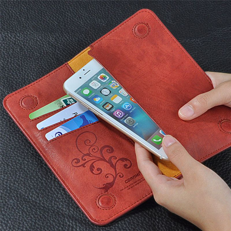 Universal-mappen-beutel-ledertasche Fall Für iPhone 7 Plus 5 s Retro Pu-leder Abdeckung Für Samsung S7 5,5 ZOLL Handy NEWOER