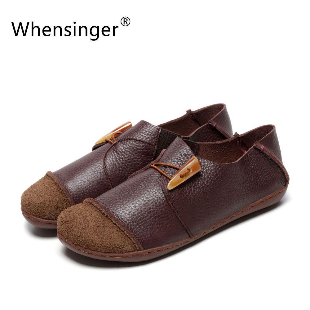 Whensinger-2018 Femme Chaussures Femme Chaussures En Cuir Véritable Vintage Élégant Mode D1505 (0309)