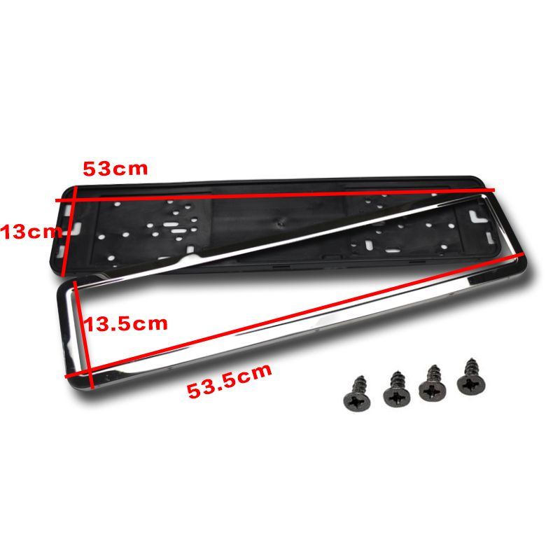 2 x Stainless Steel European Universla Car License Plate Frame Number plate Holder Front and Rear Eu Plate