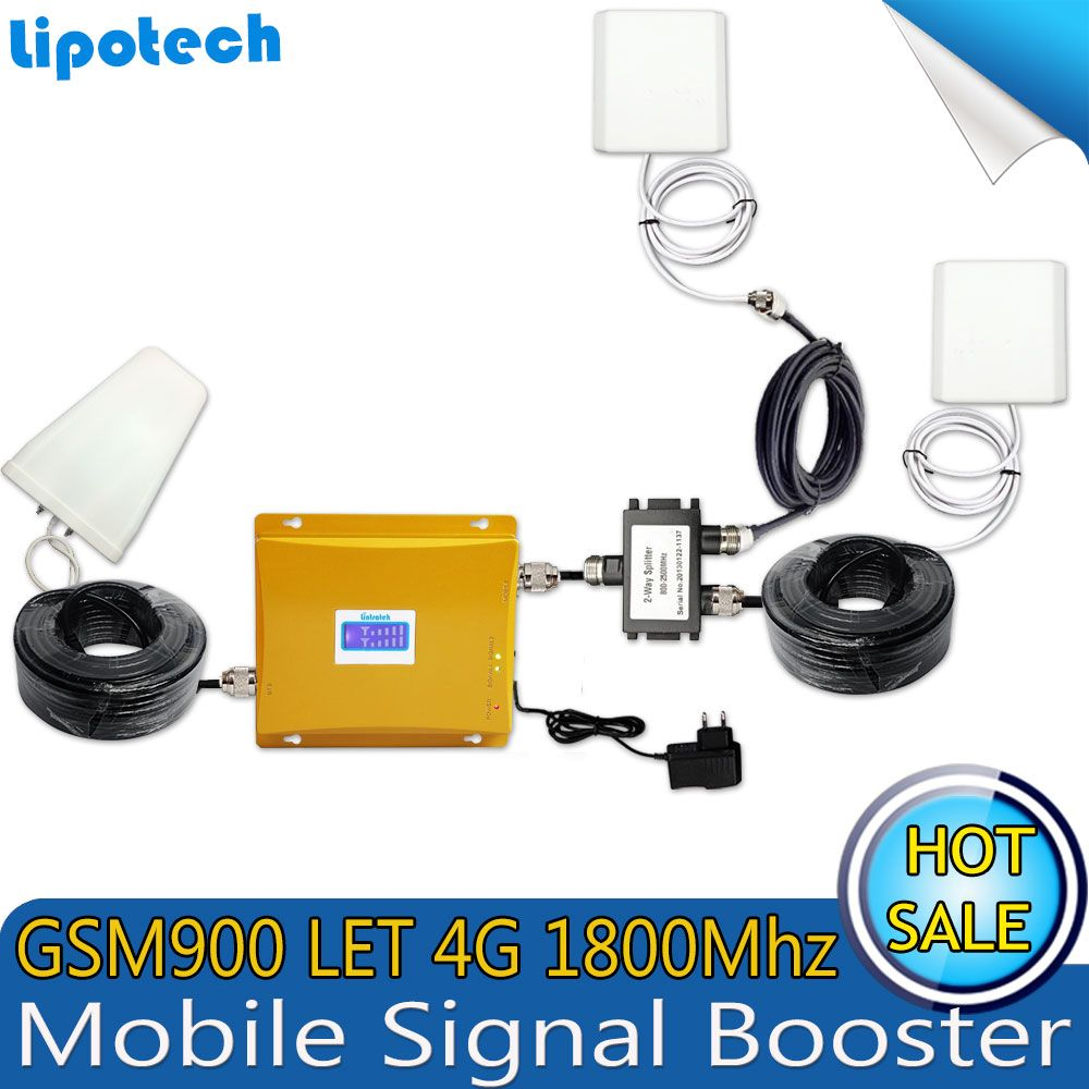 4G LTE 1800 GSM 900 Dual Band Mobile Cell Phone Signal Repeater GSM 900Mhz DCS 1800Mhz Signal Celular Booster Amplifier With LCD