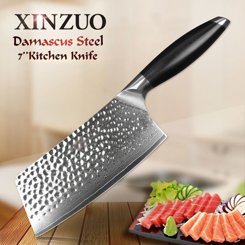 XINZUO 7'' inch Kitchen Chef Knife 67 Layer Japan VG10 Damascus Steel Knives China Cleaver Chopping Meat Knife with G10 Handle