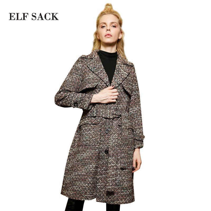 Elf SACK z winter vintage dünnes drehen-unten kragen schlanke taille vorschleuderdrehzahl woolen oberbekleidung weibliche lange design