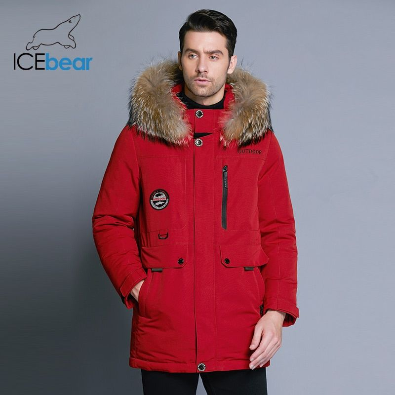ICEbear 2018 new men's winter down jacket high quality fur collar coat detachable hat and fur collar male's clothing MWY18940D
