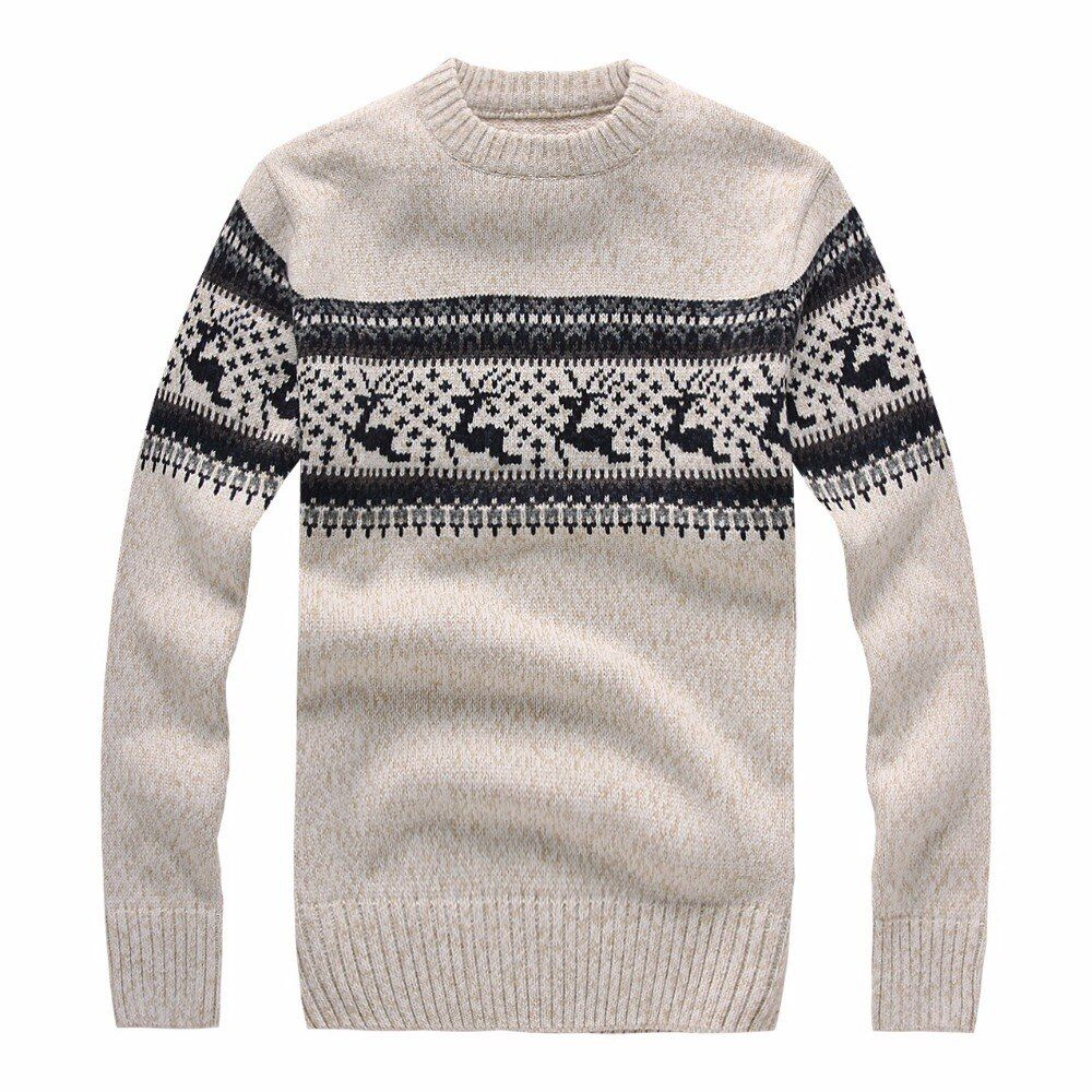 New 2017 Autumn Winter Fashion Brand Clothing Men's Sweaters with Deer Slim Fit Men Pullover Knitted Sweater