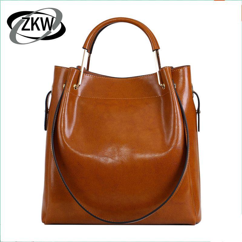 ZKW 100% sac à main en cuir véritable pour femme classique bref beau luxe en peau de vache cire un grand sac à bandoulière