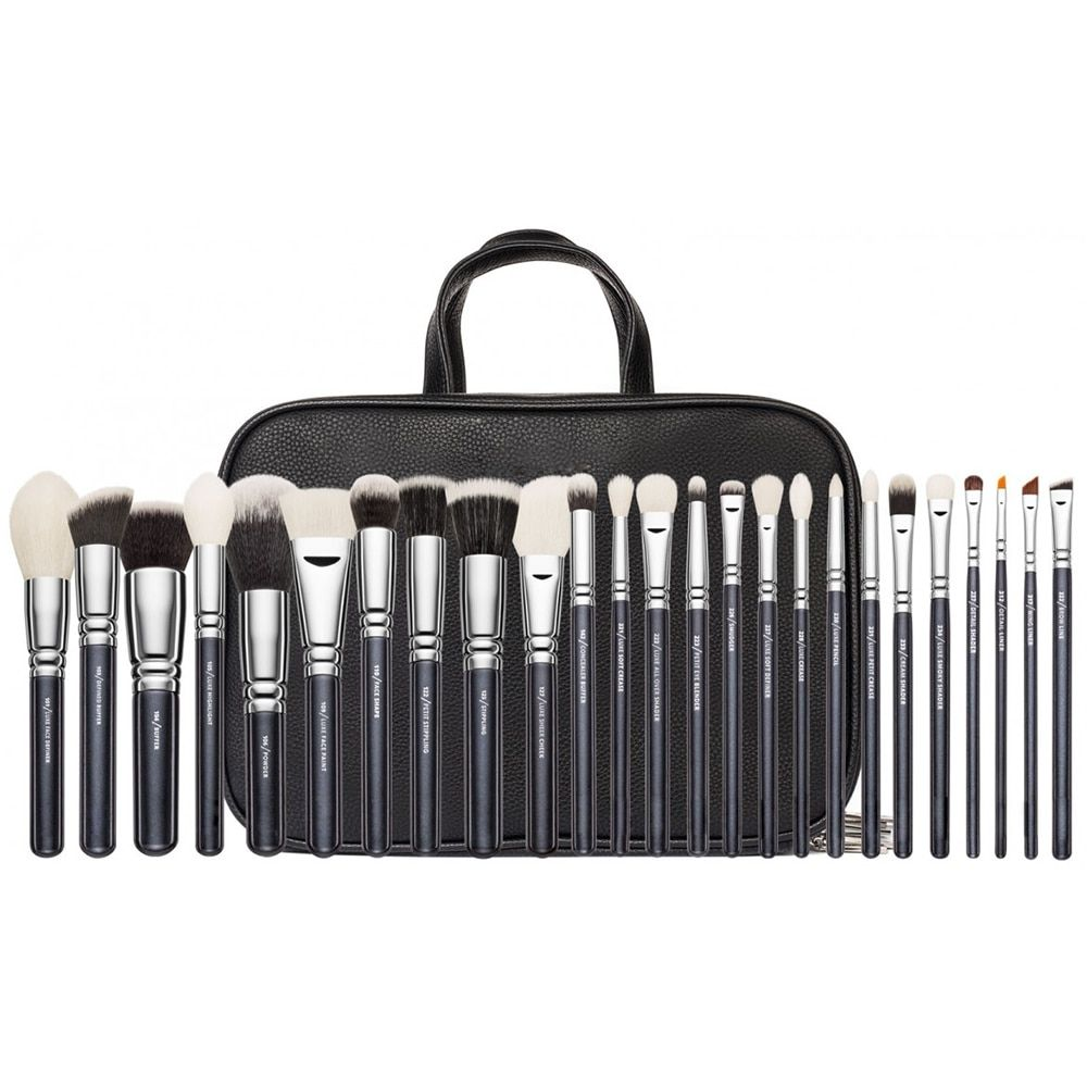 Brand Makeup Complete Professional 25 30 pieces Foundation Powder Concealer Eyes shadow Cosmetic Real Wool Brush set Black Brown