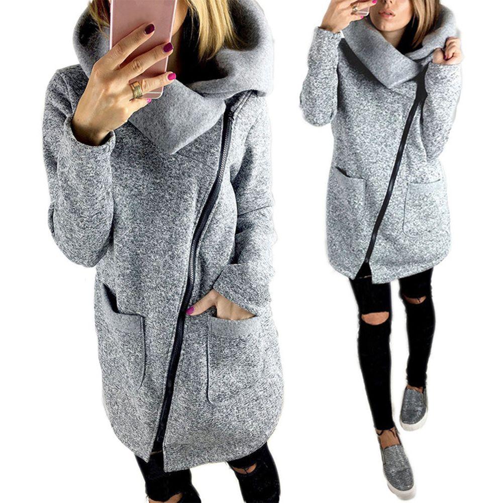 Для женщин осень Зимняя одежда теплая флисовая куртка косые молнии воротником пальто леди Костюмы Женская куртка с длинными рукавами
