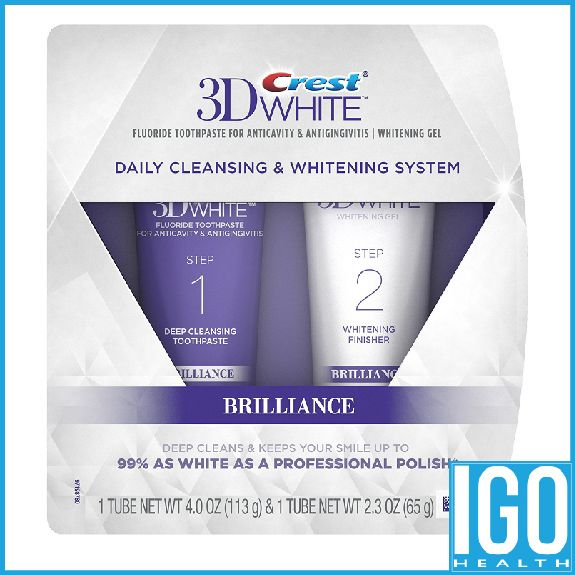 Crest 3D White Brilliance Daily Cleansing Toothpaste and Whitening Gel System 6.3 Oz free shipping