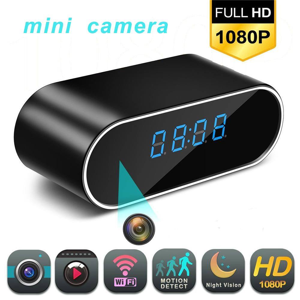 1080P WIFI Mini Camera Time Alarm Wireless Nanny Clock P2P IP/AP Security Night Vision Motion Detection Home Secret hidden TFcar