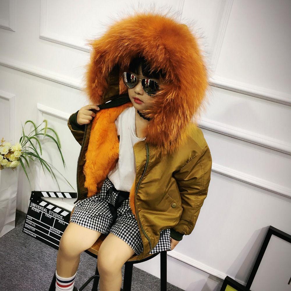 Обувь для мальчиков пальто с мехом для девочек зимняя Мужские парки реального енота меховой воротник с капюшоном Детская верхняя одежда кр...