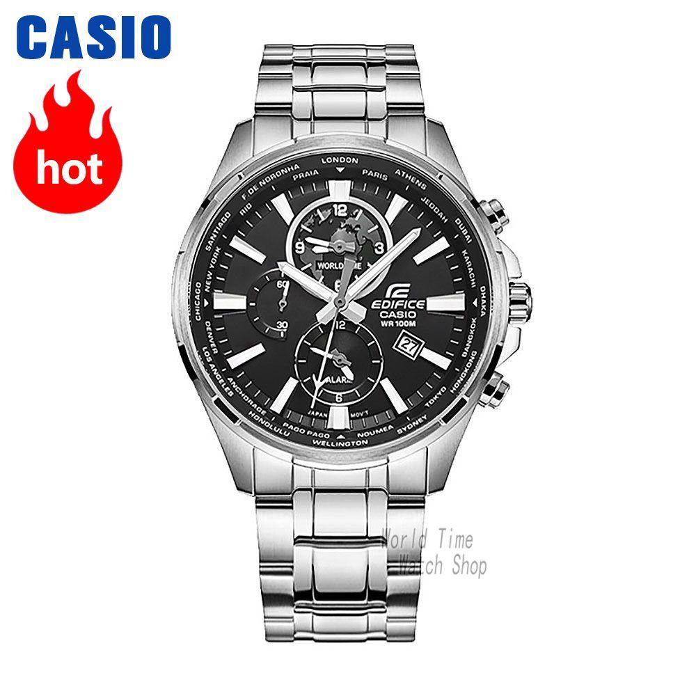 Casio watch Edifice Men's Quartz Sports Watch Business Luminous Steel Strap Leather Strap Waterproof Watch EFR-304
