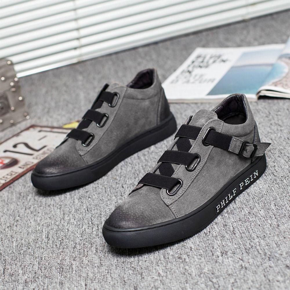 Spring new men platform sneakers shoes genuine leather breathable elastic tide shoes Men