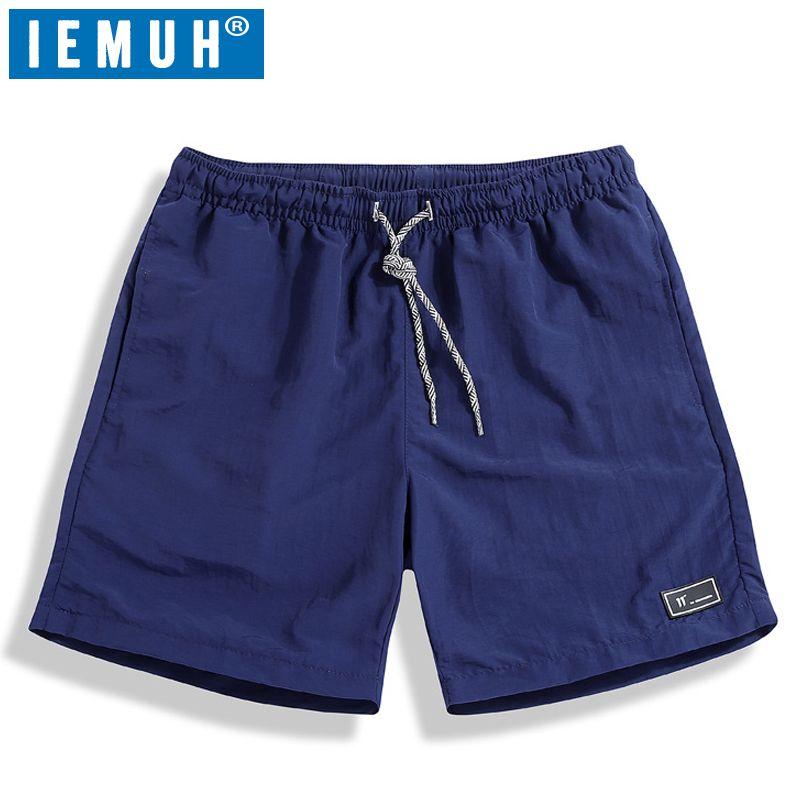 IEMUH Casual Shorts Men Brand New Board Shorts 2019 Mens Summer Shrots WaterProof Solid Elastic Waist Fashion Short Homme
