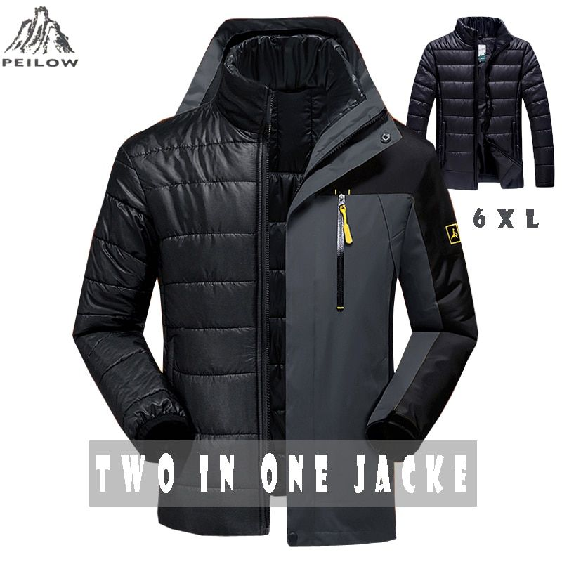 PEILOW hiver veste hommes mode 2 en 1 vêtement extérieur épaissir chaud parka manteau femmes Patchwork imperméable capuche hommes veste taille M ~ 6XL