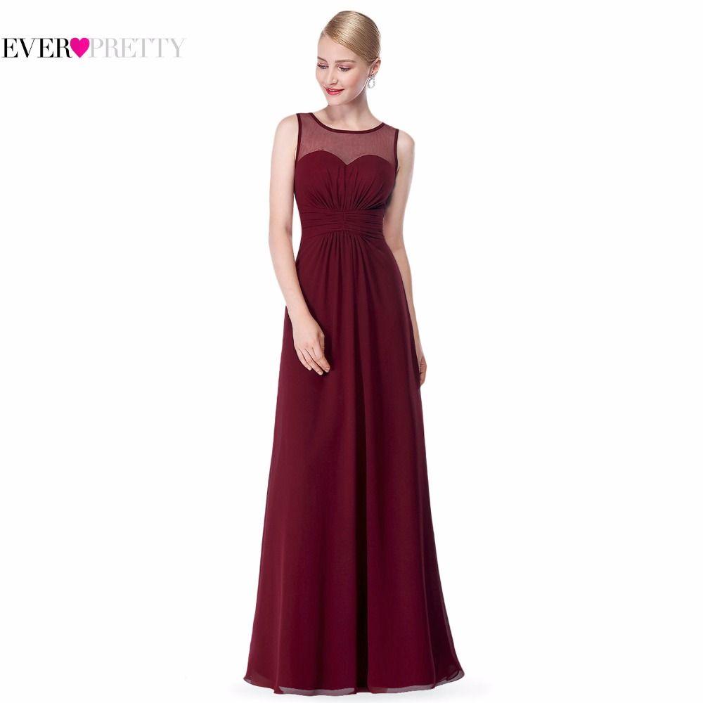 Pink Gasa Largo Vestido de Dama de honor EP08761 2017 Illusion Malla Plus Size Borgoña Una Línea de Novia Sin Mangas Vestidos de dama de Honor