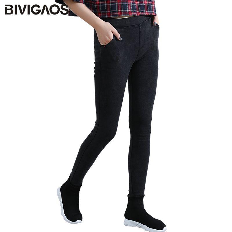 BIVIGAOS femmes poche inclinée lavé Jeans Leggings crayon pantalon élastique Denim Leggings Skinny Jeans jegging femmes pantalon