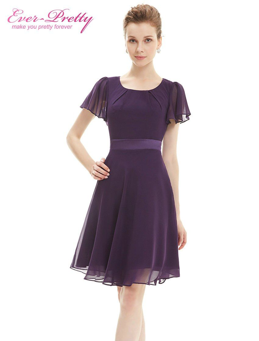 Cocktail Party Dresses Ever Pretty AS03990 Purple Round Neck Chiffon Short Elegant Summer 2017 New Arrival Cocktail Dresses