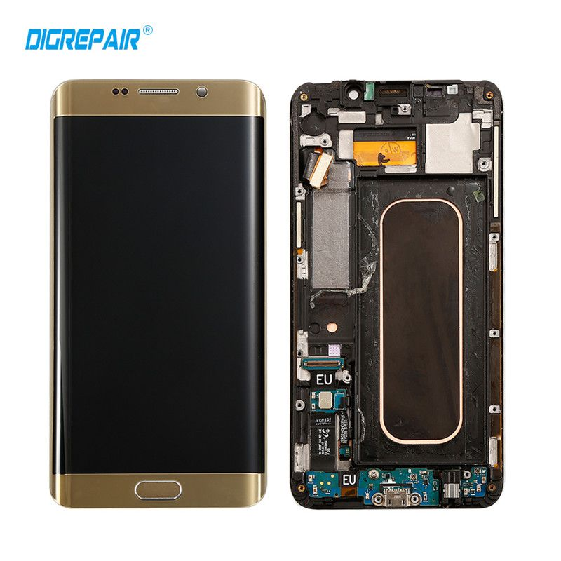 Blue Golden For Samsung Galaxy S6 Edge Plus G928F LCD Display Touch Screen Digitizer with Frame Assembly, Free shipping