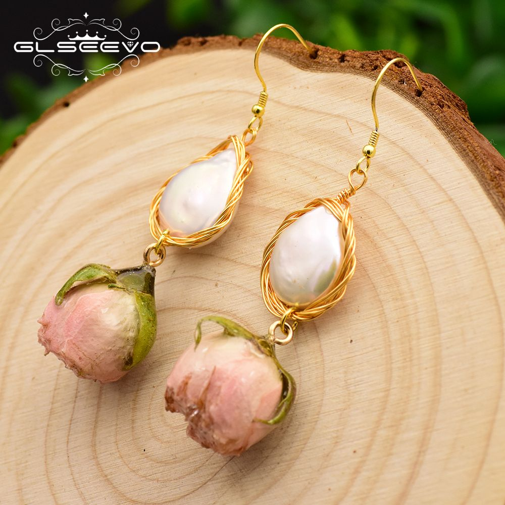 GLSEEVO Natural Fresh Water Baroque Pearl Dangle Earring Flower Drop Earrings Gifts For Women Fine Jewelry Customizable GE0492