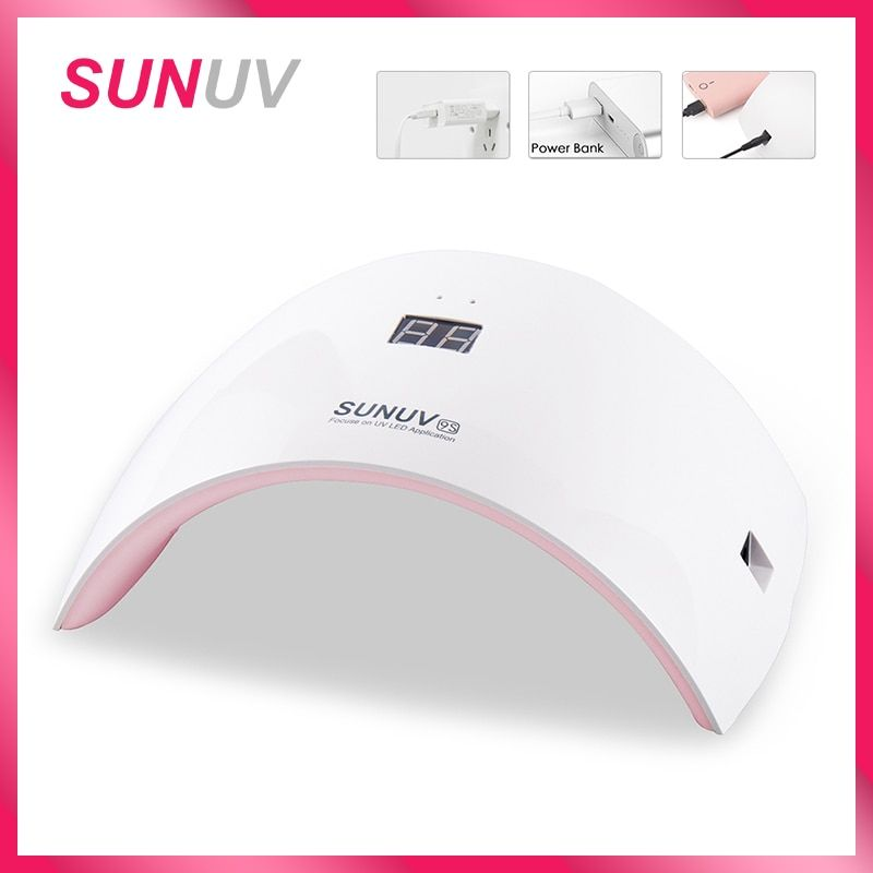 SUNUV SUN9s Nail Lamp 24W UV LED Light Nail Dryer with USB <font><b>Charging</b></font> Cable Professional Manicure Lamp For Finger and Toenails
