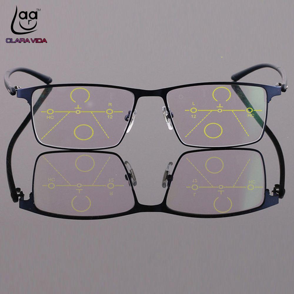 CLARA VIDA = lunettes de lecture multifocales progressives monture de lunettes en alliage de titane pleine jante voir proche et lointain TOP 0 ajouter + 0.75To + 4
