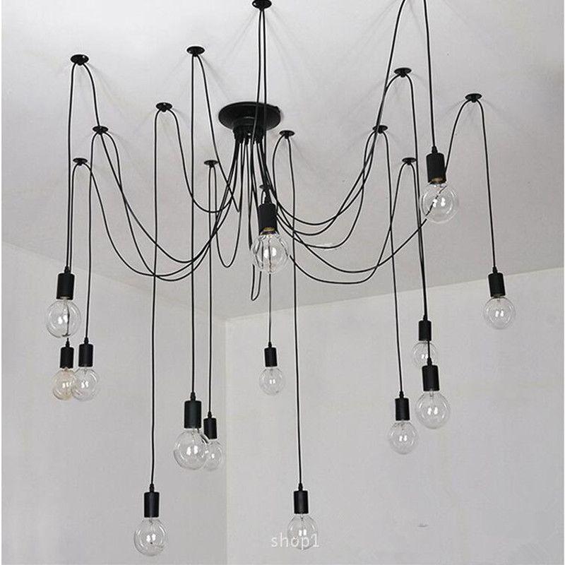 Retro edison-birne kunst spinne anhänger kronleuchter vintage loft antike diy e27 deckenleuchte leuchte (keine glühbirnen) ac110-240v