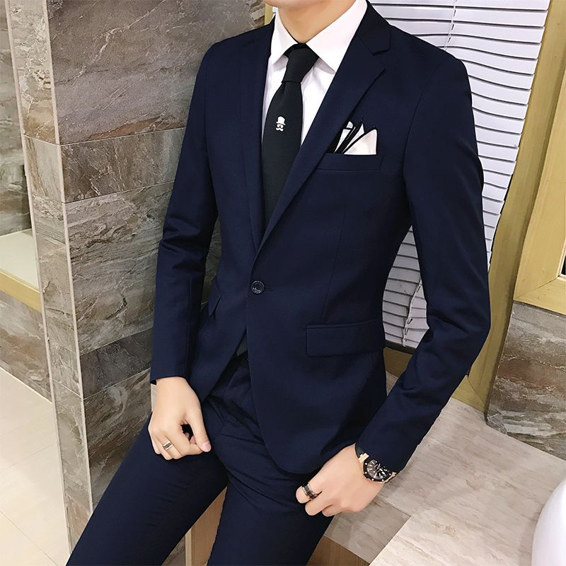 2pcs/set 2018 new fashion Korean style Slim Black Mens suit with pants High quality wedding suits for men dress Clothing men's