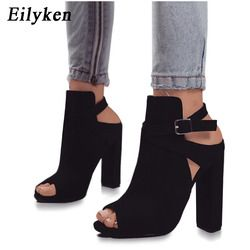 Eilyken Women Sandals Gladiator High Heels Strap Pumps Buckle Strap Shoes Fashion Summer Ladies Shoes Black size 35-42