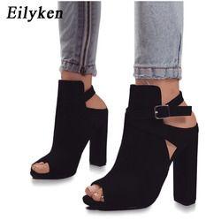 Eilyken mujeres sandalias gladiador tacones altos Correa bombas hebilla Correa zapatos moda verano Zapatos de las señoras tamaño negro 35-40