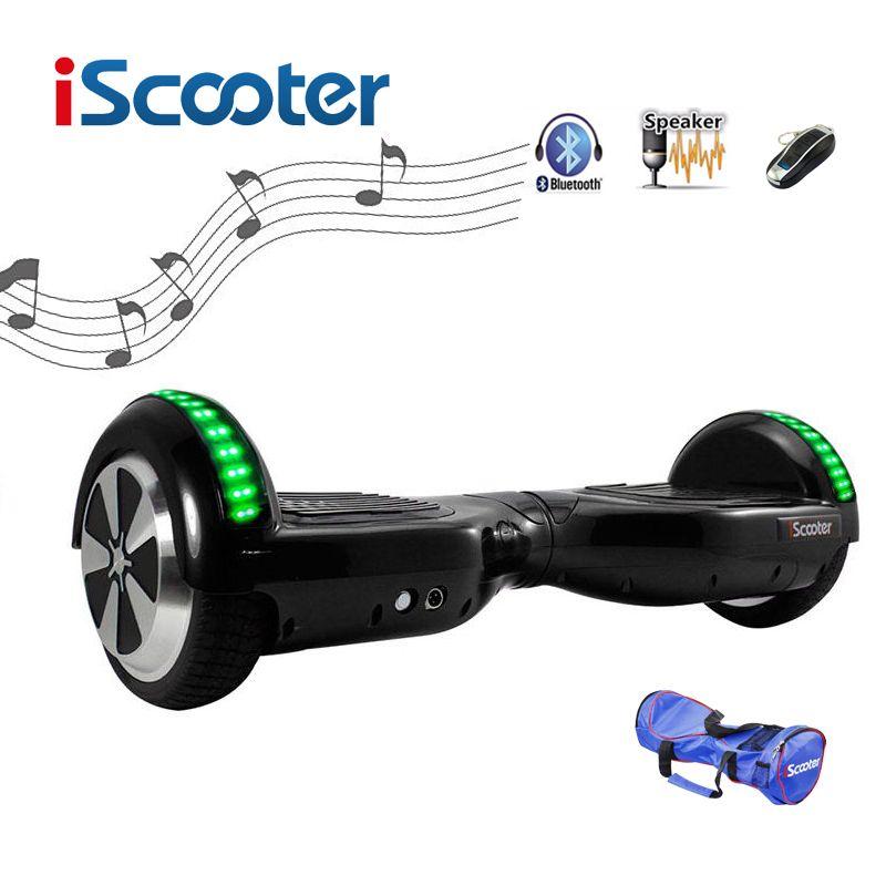 Freies verschiffen iScooter Hoverboard bluetooth 6,5 zoll 2 Rad Smart Balance Elektrische Roller selbst Ausgleich Skateboard giroskuter