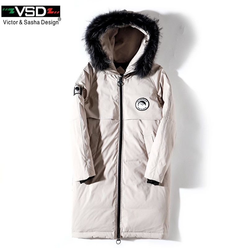VSD Winter Duck Down Jacket Longer Real Fur Coat's Men's Fashion Canada Style High Quality Clothing Casual Jackets Parkas VS8806