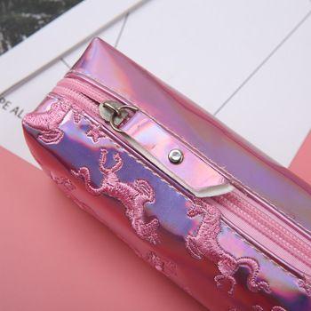 1 Pcs Kawaii Pu Pencil Case Unicorn Flamingo Laser Gift Estuches School Pencil Box Makeup Pencil Bag School Supplies Stationery