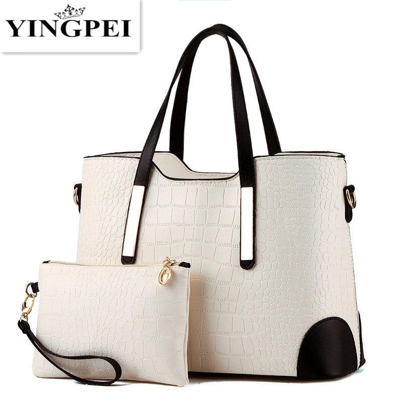 YINGPEI Women Bag Vintage Messenger Bags Shoulder Handbag Women Top-Handle Crocodile <font><b>Pattern</b></font> Composite Bag Purse Wallet Leather