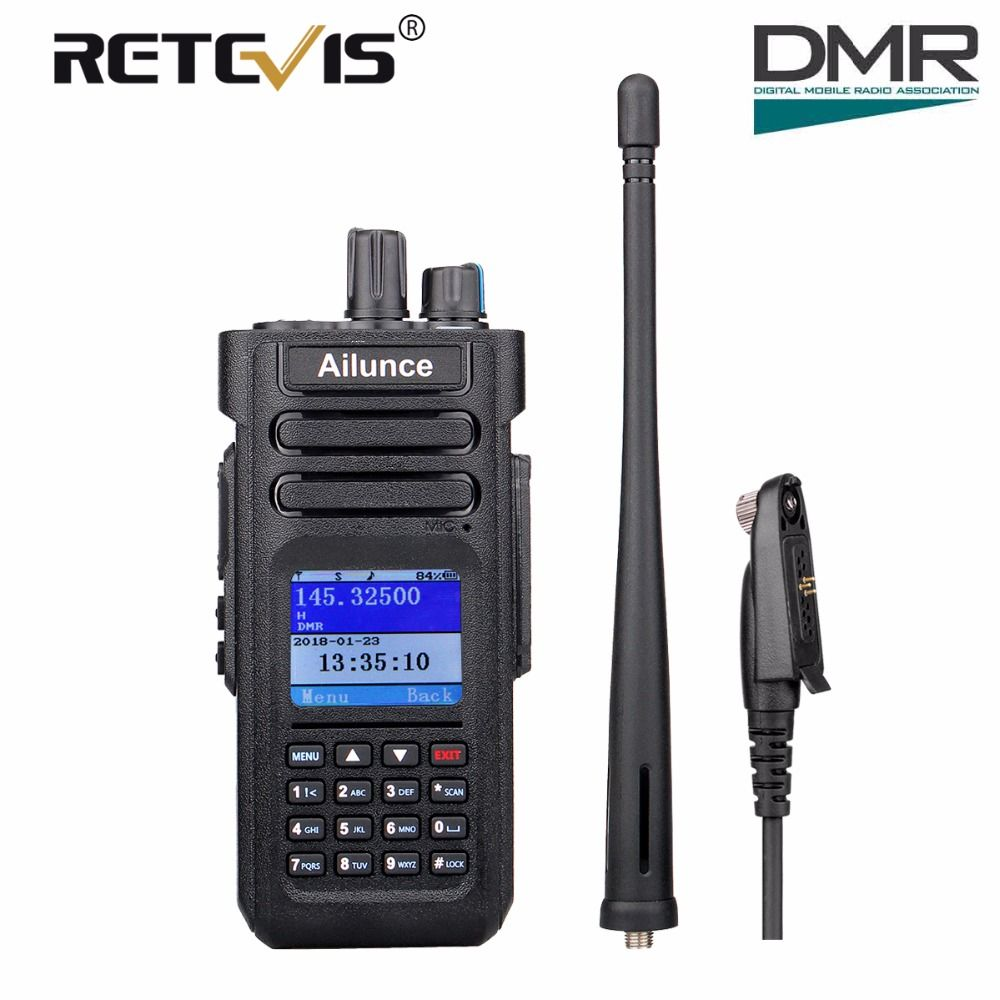 Dual Band DMR Retevis Ailunce HD1 Digital Walkie Talkie Ham Amateur Radio (GPS) 10W VHF UHF Two Way Radio Hf Transceiver + Cable