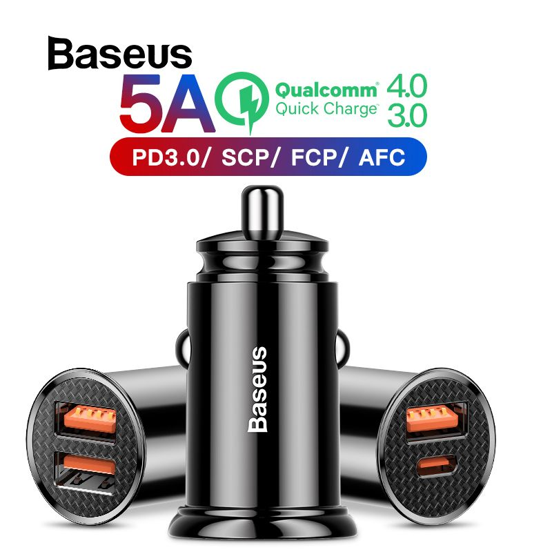 Baseus 30W Car Charger with Quick Charge 4.0 3.0 For iPhone X Xs Max USB Car Phone Charger SCP AFC For HUAWEI Mate 20 P30 P30Pro