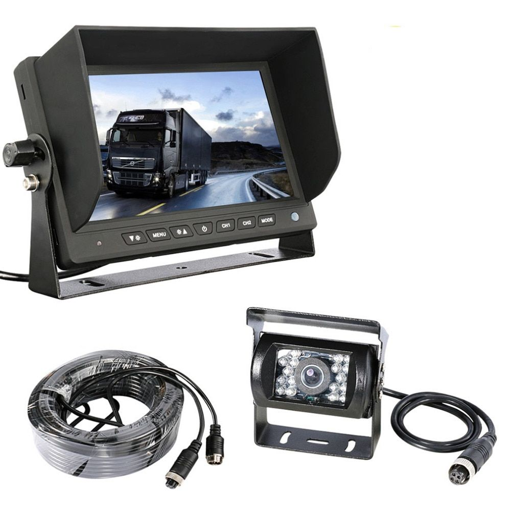 Accfly SONY CCD 4 pin HD car reverse rear view camera for Trucks bus Caravan Van Excavator RV Trailer Camper with Monitor