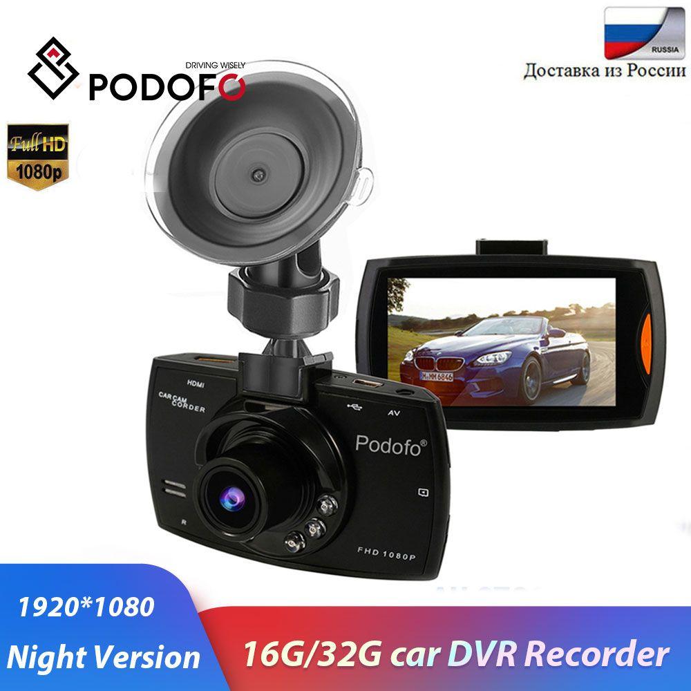 Podofo caméra de voiture G30 Full HD 1080P 2.7 voiture Dvr enregistreur de conduite + détection de mouvement Vision nocturne g-sensor 32GB Dvrs Dash Cam