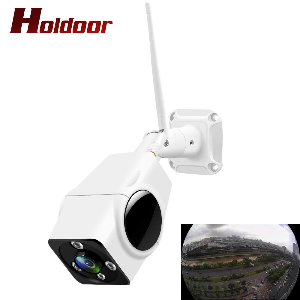 Holdoor Panoramic IP Camera Wireless Wi-Fi Cam Surveillance Cameras Outdoor IP66 2MP with Audio Record Camcorder Fish Eye Home