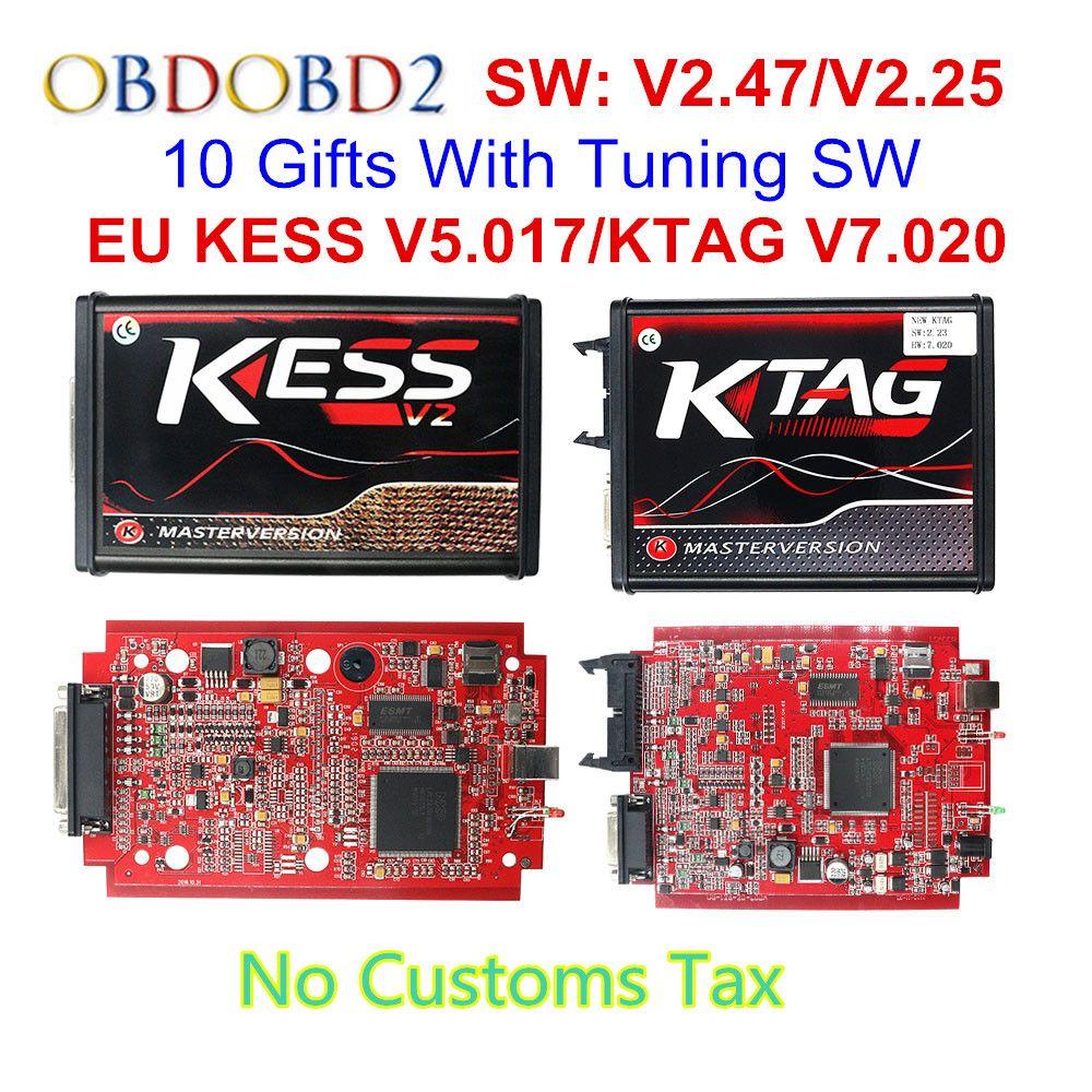 V2.47 en ligne EU rouge KESS V2 5.017 maître complet OBD2 gestionnaire Tuning KESS V5.017 4 LED KTAG V7.020 BDM cadre K-TAG 7.020 ECU puce