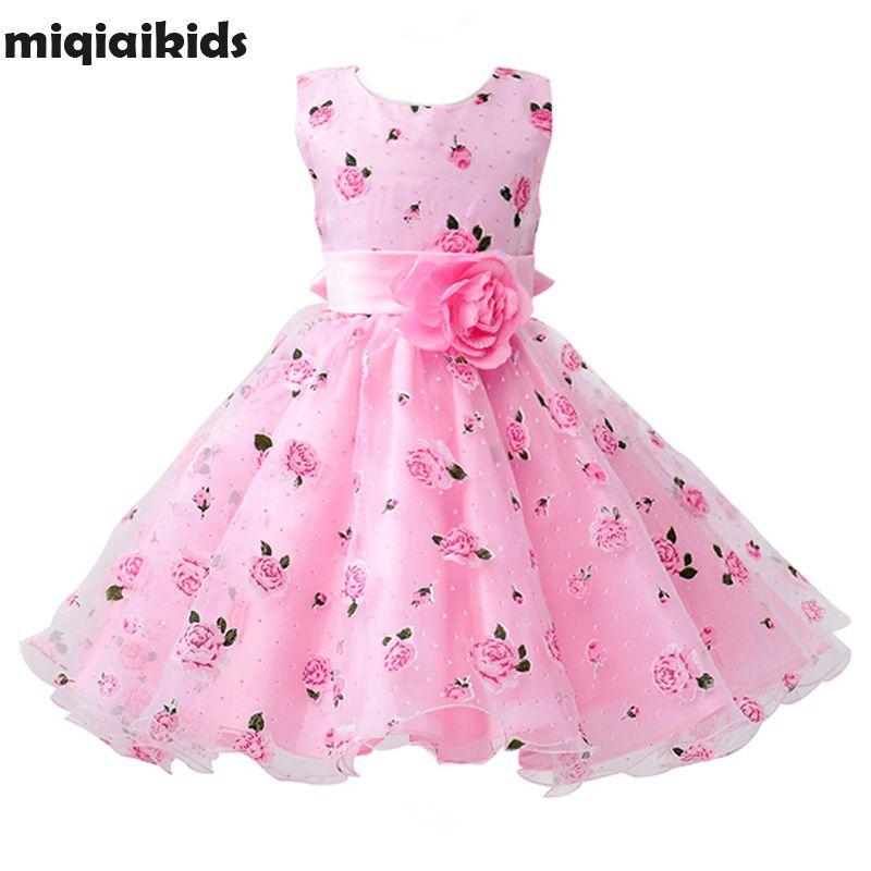 Détail fleur robe ceintures de mariage robe de fille imprimé Floral bébé robe première Communion enfants robes taille: 100-150 L619
