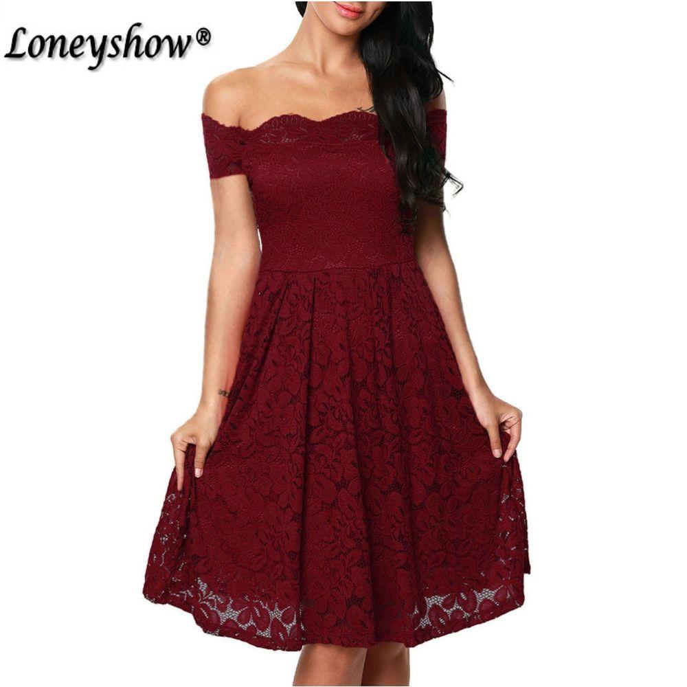 Loneyshow Sexy Vintage Floral Lace Dress Women Elegant Long Sleeve Slash Neck 50s 60s Retro Style Swing <font><b>Wedding</b></font> Party Dress