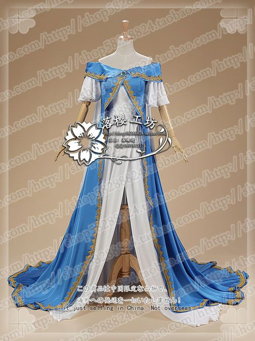 Oh My Goddess! Belldandy Cosplay Costume Outfit Blue Angle Dress White Dress+Blue Dress+Gloves