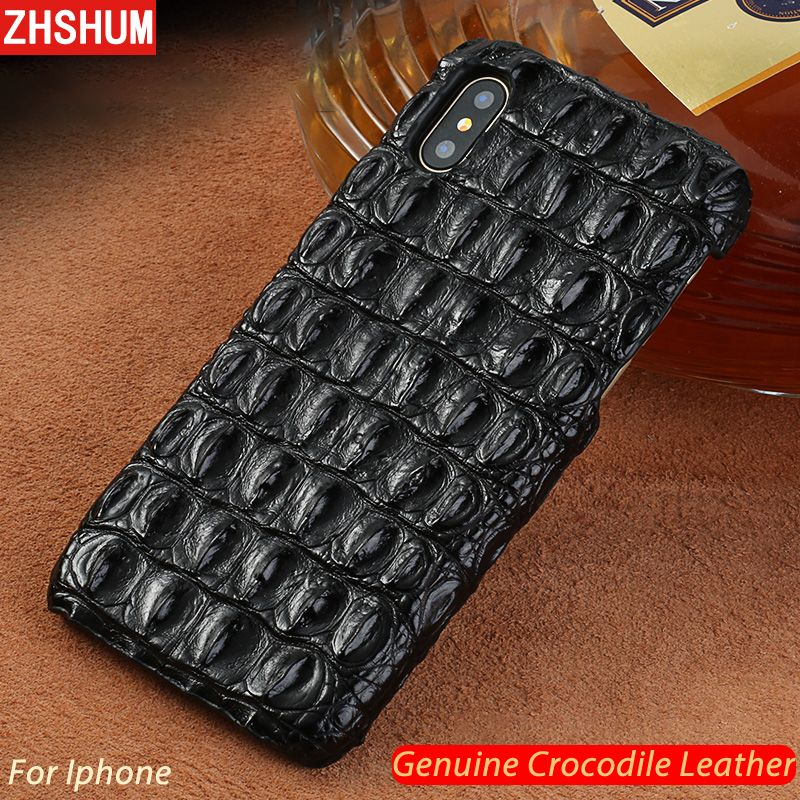 Echtem Krokodil Leder Fall Für iphone XS MAX XR X 8 7 6 s Plus Luxus handgemachte Anpassen Haut Fall zurück Abdeckung für iphone 6 10